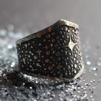 You are star dust, Milky Way and stars ring in sterling silver