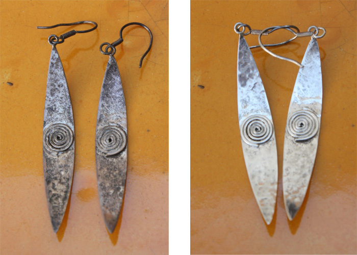Sterling silver earrings, before and after the cleaning of natural oxidation
