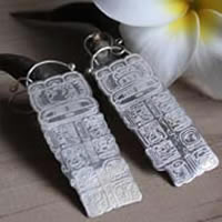 Maya Long Count, Mayan calendar earrings in sterling silver
