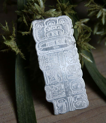 Maya Long Count, Mayan calendar brooch in sterling silver