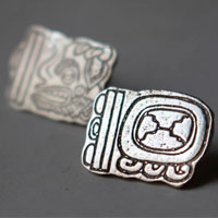 Maya Tzolkin Haab, Mayan calendar stud earrings in sterling silver