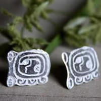 Maya Tzolkin, Mayan calendar stud earrings in sterling silver