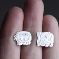 Tzolkin Tzolkin, Mayan calendar stud earrings in sterling silver