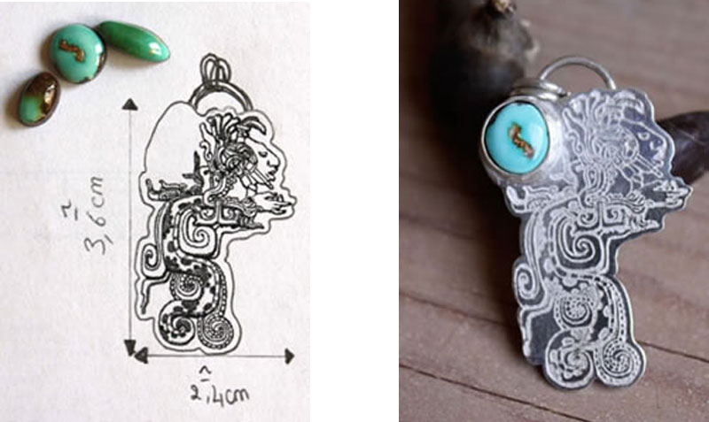 Preparatory drawing and choice of turquoise stone for this Maya theme pendant for a pre-Hispanic civilization enthusiast