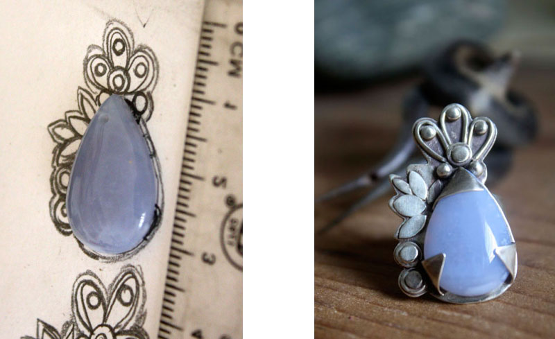 Preparatory drawing for this ring with a blue lavender chalcedony especially ordered for this personalized order.
