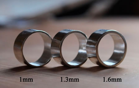 Choose your ring thickness, 1 to 2 mm thick