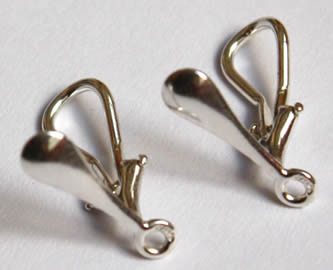 Sleepers clips, 925 sterling silver, of earrings for non-pierced ears