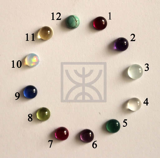 The 12 birthstones chosen to represent the different months of the year